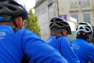 Three members of different police bike teams from Belgium.