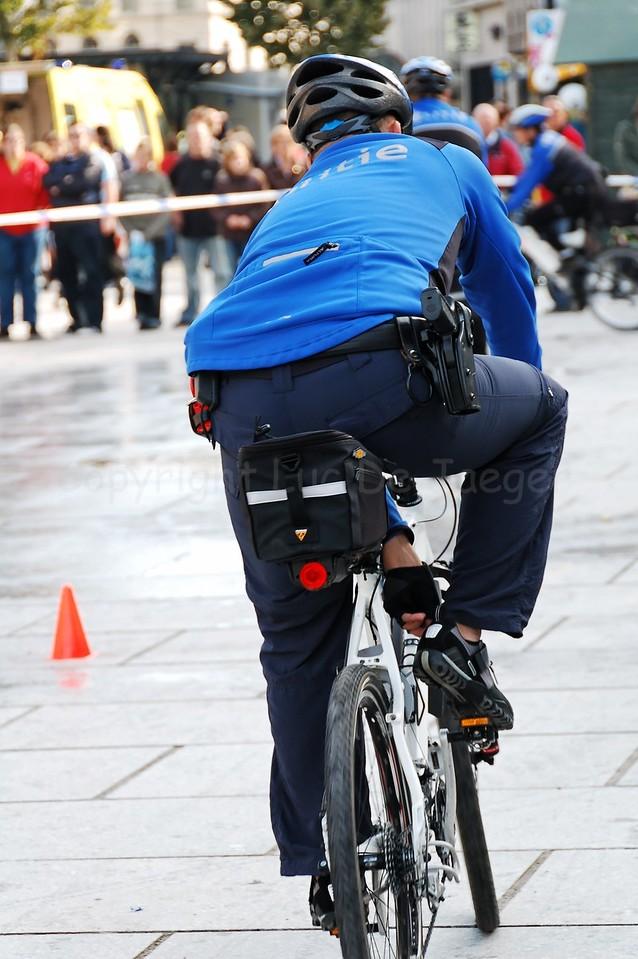 A member of a Belgian police bike team (fietsbrigade).