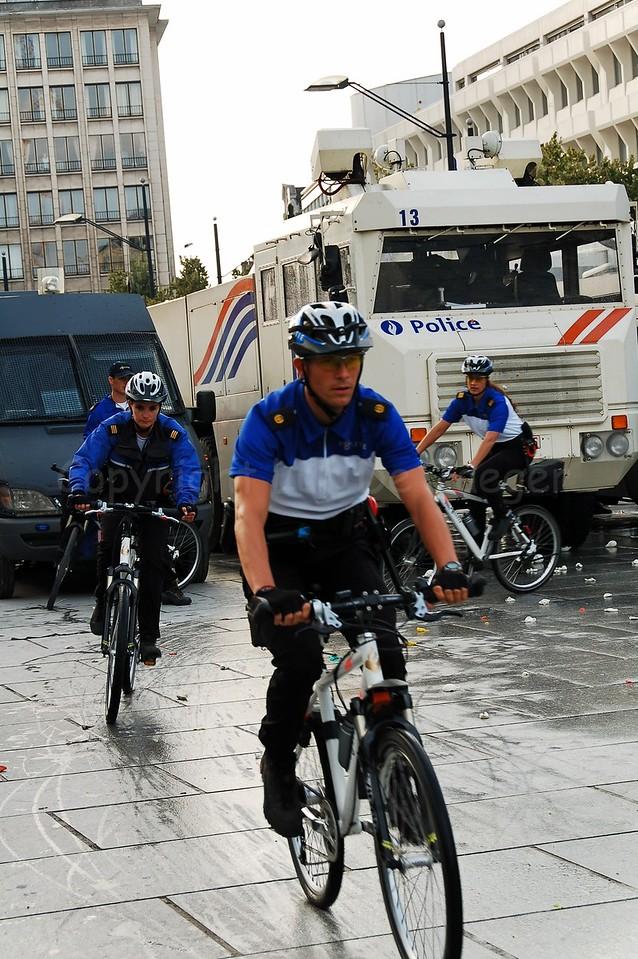 Members of different Dutch police bike teams.