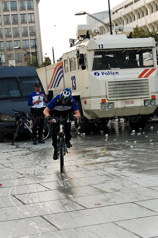 A member of a Dutch police bike team.