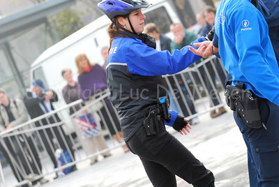 The arrest of a suspect by a police bike team.