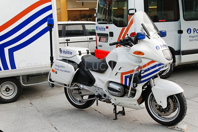 A BMW R 1100 RT motorcycle of the Belgian federal highway police (traffic police/wegpolitie).