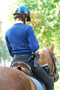 A police woman of the Belgian federal mounted police on her horse.