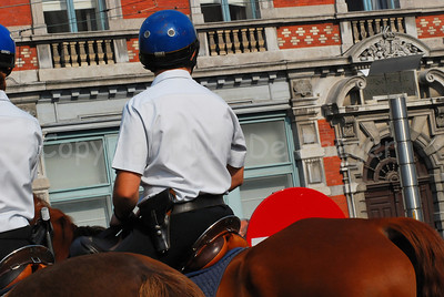 A unit of the federal mounted police on patrol.