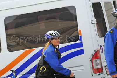A police woman of the Maastricht bike team, the Netherlands.