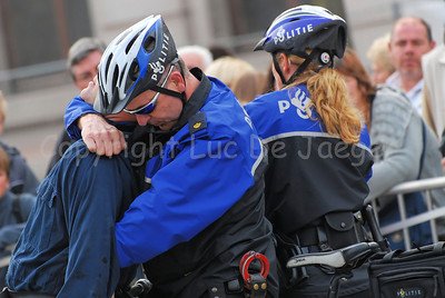 The arrest of a suspect by a police bike team of Maastricht, the Netherlands.