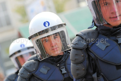 Belgian police officer in riot gear.