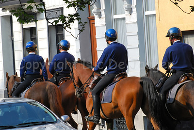 A team of the Belgian federal mounted police on patrol.