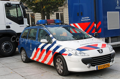 A Peugeot car of the Dutch Koninklijke Marechaussee (Royal Constabulary). The Koninklijke Marechaussee is a Dutch military-styled police force with nation-wide missions like protection, border-guarding, criminal investigations etc.