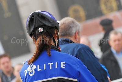 A police woman of the bike team of the police of Maastricht, the Netherlands.
