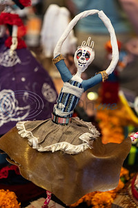 A sculpture made by a Caldwell Arts Academy student is on display during the school's Day of the Dead celebration held inside Caldwell Auditorium on Monday, Nov. 2, 2020.