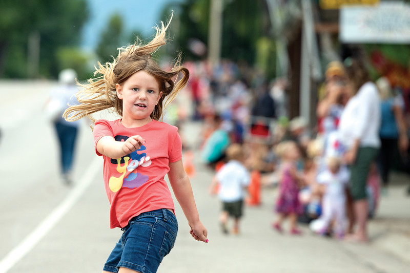 Matthew Gaston | The Sheridan Press<br>Five-year-old McKenna Fodor dances in the street at the Dayton Days Parade Saturday, July 27, 2019.