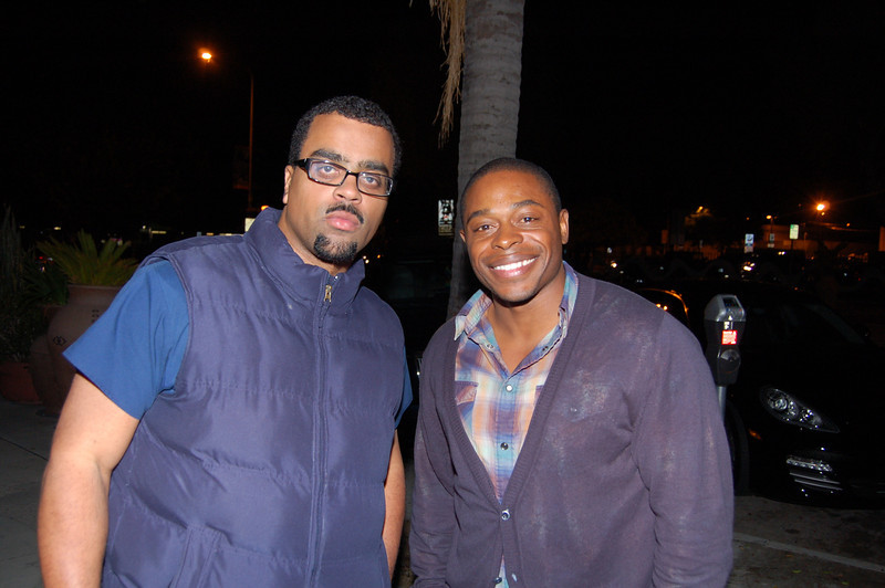 Actor Kareen Grimes who grrew up here in Leimert Park and his childhood friend and partner in films, Bervick J.Deculus II<br /> <br /> Grimes is in a video game coming out this week (5/18/11) called L.A. Noir, by Rockstar Games.<br /> <br /> Photo by isidra Person-Lynn