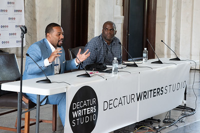 "Maurice Hobson talks about his book ""Black Mecca"" at the Courthouse today at the Decatur Book Festival"