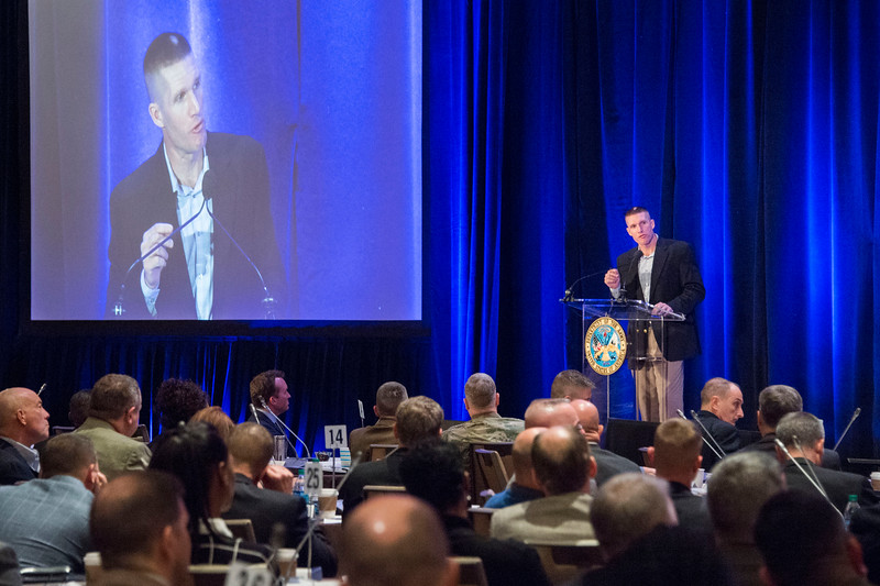 Sgt. Maj. Daniel A. Dailey, Sergeant Major of the Army, gives opening remarks at the Army Professionl Forum, Sexual Harassment / Assault Response and Prevention (SHARP) conference,Tysons Corner, Va., December 8, 2016. (U.S. Army photo by Sgt. 1st Class Chuck Burden)