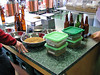The green topped containers hold the various hops our recipe calls for.