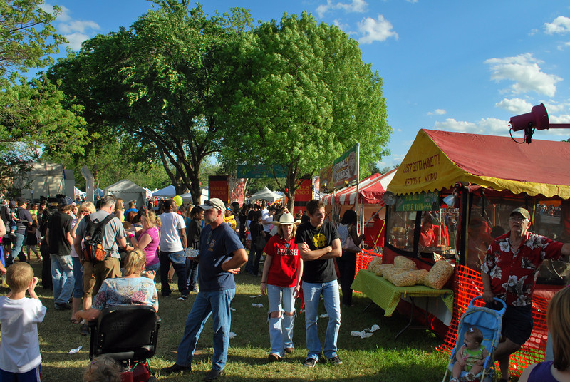Festival goers enjoy the beautiful weather at the Denton Arts and Jazz Festival