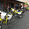 Bikes lined up at the RV park office.