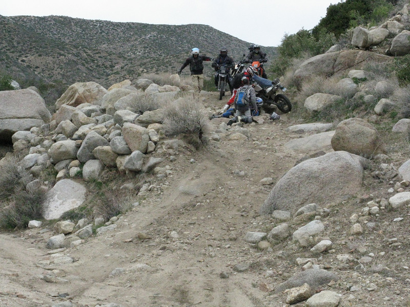 Nasty rocky section on Rodriguez Canyon claims a victim.