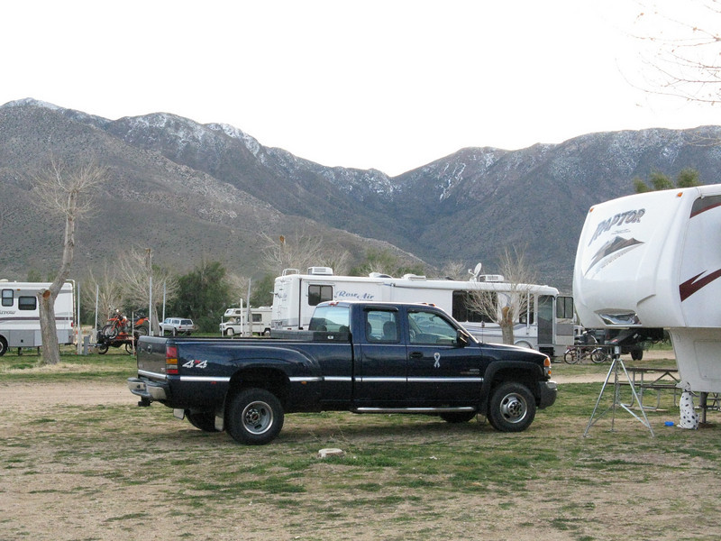 Snow on the mountains behind the RV park.