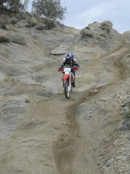 Another rider coming down the Drop Off.