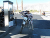 Greg at the gas station in Borrego Springs. Down to one rear view mirror after a mishap on Culp Valley road.