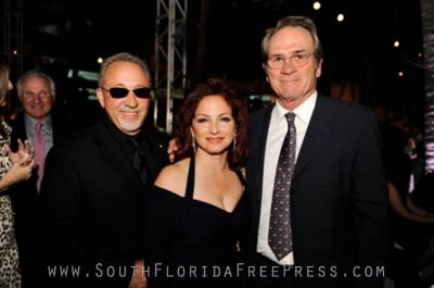 Gloria and Emilio Estefan and Tommy Lee Jones