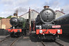 Steam locomotives BR Collett no. 3205 and GWR 4-6-0 No 6023 King Edward II at Didcot Railway Centre September 2011