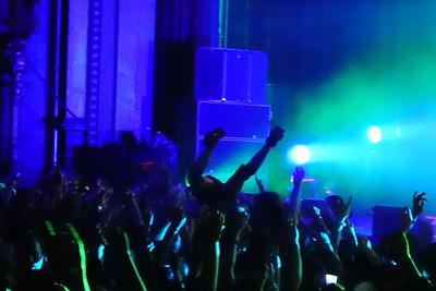 Ninja crowdsurfs