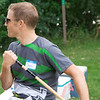 Chris...pretending to row with a croquet mallet?