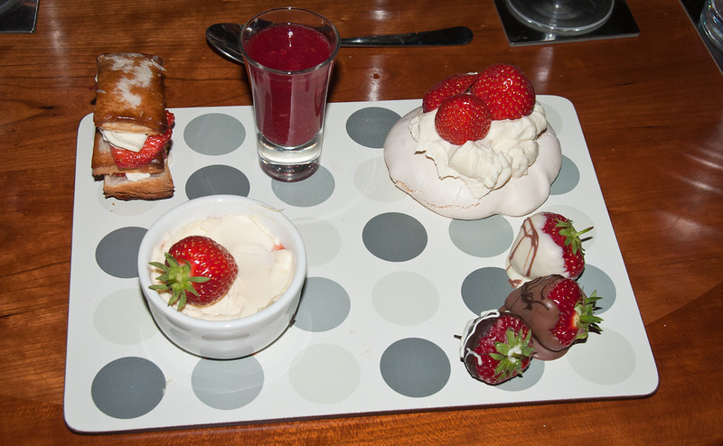 The Dessert<br /> A Strawberry Fantasy<br /> Mini Strawberry Pavlova, Mini Strawberry Millefeuille. Strawberry Parfait<br /> Dark, milk and white chocolate dipped strawberries, Berry Blast shot<br /> Vigna Fiorita – Moscato d'Asti due Milanove 2009