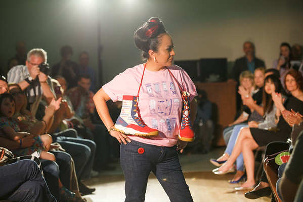 Reyna Garcia modeling shoes designed by veterans through Fashion Has Heart. DisArt Festival Fashion Show