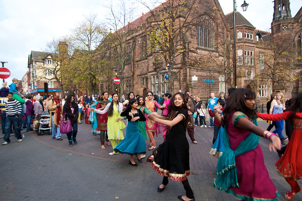 Diwali 2011 in chester - street party dancing with drums