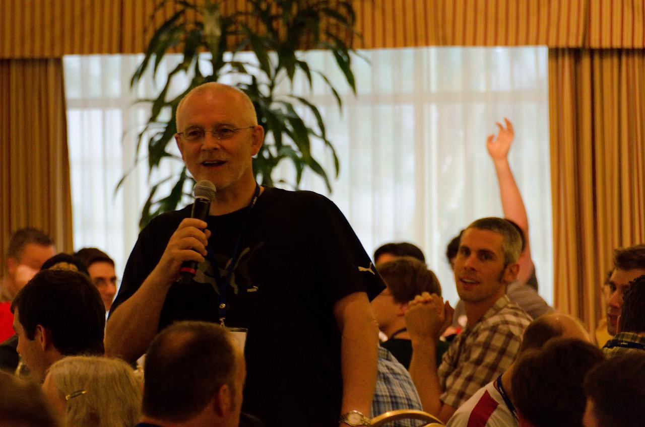 Steve quizing us on Django trivia for prizes