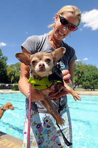 Oakley Gardner has her dog Olive ready for the swim. The first day of the annual Dog Dayz at Scott Carpenter Pool was held on Wednesday. For more photos and a video of the dogs, go to www.dailycamera.com. Cliff Grassmick / August 18, 2010
