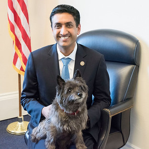 Rep. Ro Khanna, D-Pa., and his scheduler Angela's dog, Jillian. Little Jillian runs the show when she's in the office and is known to be the office greeter. (Courtesy Humane Rescue Alliance)