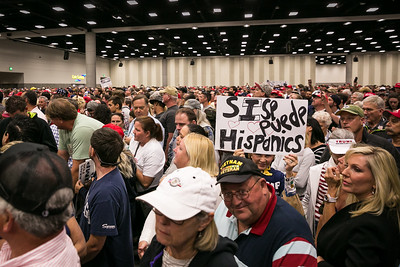 Audience at Donald Trump rally at the San Diego Convention Center May 27, 2016.
