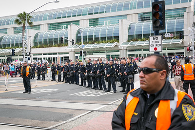 Police presence outside San Diego Convention Center prior to Donald Trump's appearance there May 27, 2016.