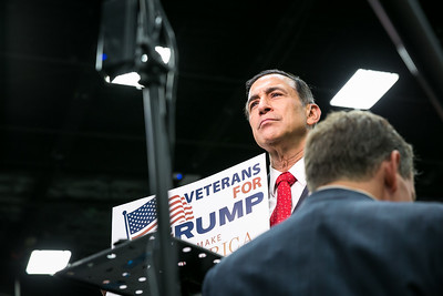 Congressman Darrell Issa gives a TV interview prior to Donald Trump's appearance San Diego Convention Center May 27, 2016.