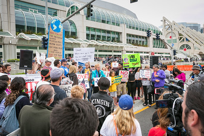 San Diego County Democratic Party Chairwoman Francine Busby speaks outside the San Diego Convention Center May 27, 2016 prior to Donald Trump's appearance there.