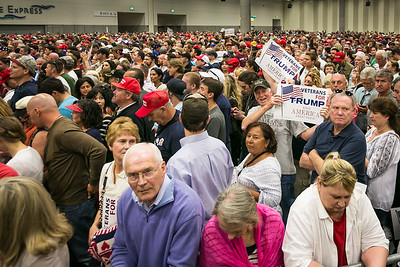 Donald Trump supporters prior to his speech at the San Diego Convention Center May 27, 2016.