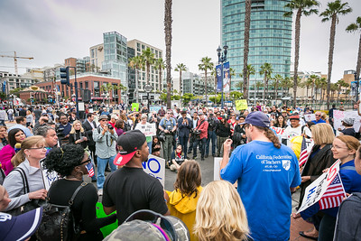 Jim Miller addresses group of anti-Trump protesters  prior to Donald Trump's appearance at San Diego Convention Center May 27, 2016.