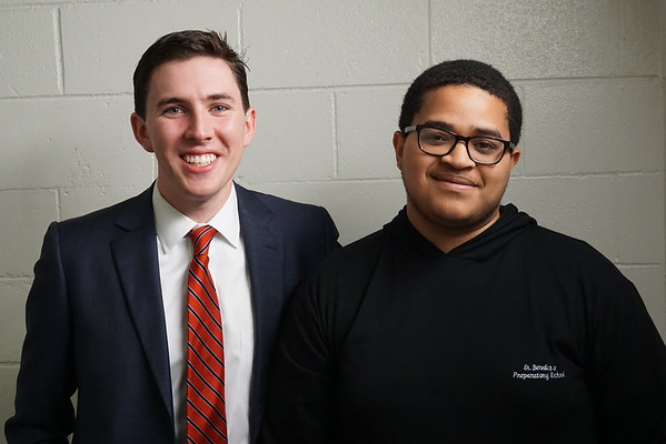 "Dan Sheehan '08 with a ""Benedict News"" interviewer Carristian Brown '15."
