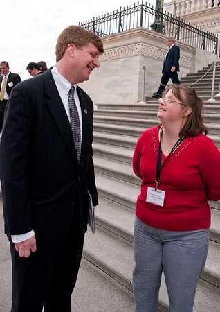 L-R:  Rep Patrick Kennedy; Lydia Orso (Self-Advocate - DSA St. Louis)