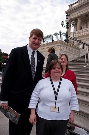 L-R:  Rep. Patrick Kennedy, Megan Layton, Board Member & Self Advocate (DSAGSL);  Lydia Orso, Self Advocate (DSAGSL)