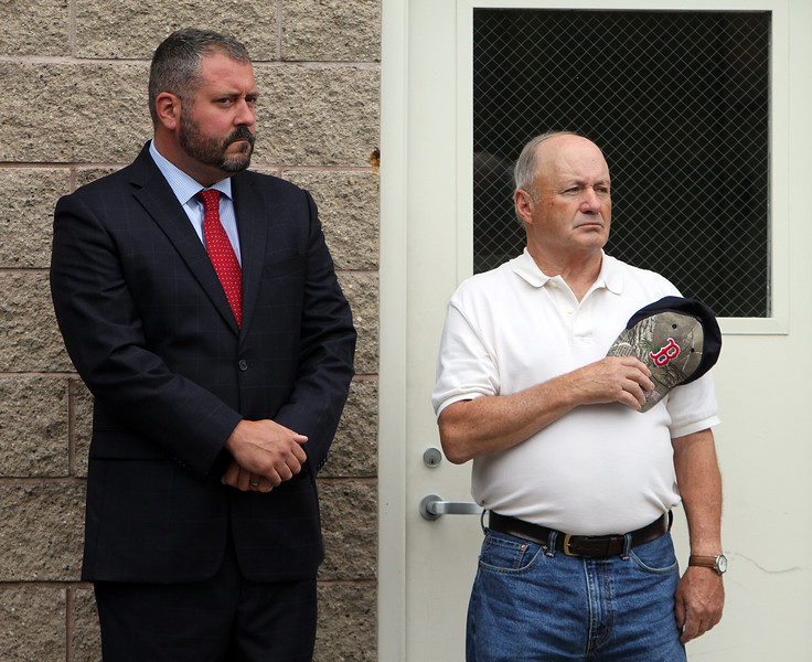 Dracut 9-11 ceremony at Jones Ave fire station. Dracut Board of Selectmen members Jesse Forcier, chair, left, and Joe DiRocco. (SUN/Julia Malakie)
