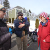 Dracut Open Space Committee holds 6th annual birthday walk to celebrate the 318th anniversary of Dracut's separation from the town of Chelmsford on Feb 26, 1701, ending with refreshments on Brentwood Drive. From left, Open Space Committee members Susan Koufogazos and Emile Demers, and Norma Taplin, all of Dracut. (SUN Julia Malakie)