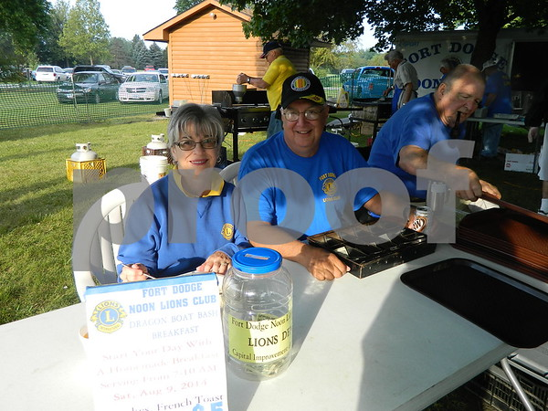 Jim and Susan Gill helping the noon lions sell pancake breakfast tickets.