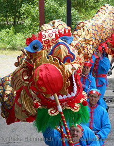 dragon-dance - dragon and performers in a row