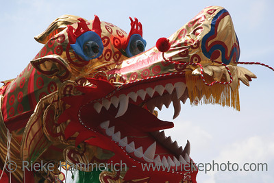 chinese dragon-dance - performance between the ruins of an ancient industrial coal-mine